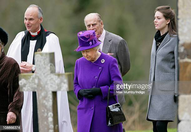 Reverend Jonathan Riviere Queen Elizabeth II Prince Philip The Duke of Edinburgh and Alexandra Knatchbull after attending a church service on the...