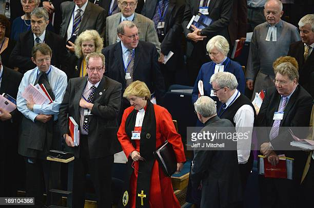 Reverend Lorna Hood Moderator of the Church of Scotland enters the chamber to chair the debate on the issue of gay ministers on May 202013 in...