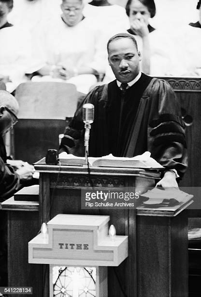 Reverend Martin Luther King Jr delivers a sermon from the pulpit at Ebenezer Baptist Church