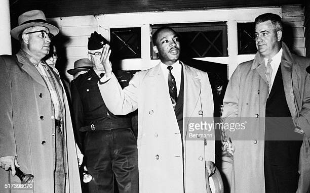 Reverend Martin Luther King Jr leader of an African American boycott against the Montgomery City Buses urges calmness from the porch of his home...