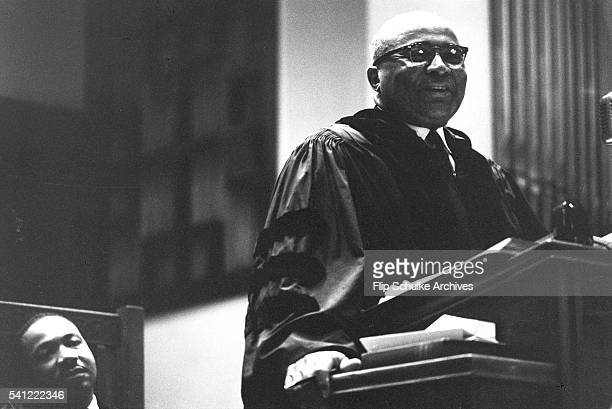 Reverend Martin Luther King Jr listens to his father Martin Luther King Sr sermon at Ebenezer Baptist Church