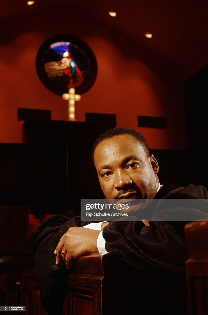 Reverend Martin Luther King Jr. sits along the pulpit of Ebenezer Baptist Church in Atlanta, Georgia. It was announced today, November 8, 1964, that Martin Luther King Jr. won the Nobel Prize for peace.