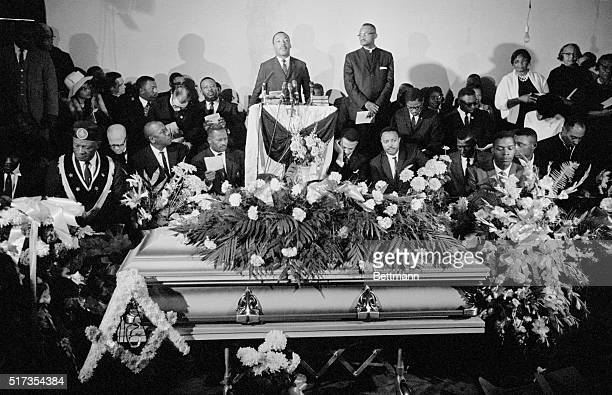 Reverend Martin Luther King Jr speaks at a funeral for Jimmie Lee Jackson who was killed during a civil rights protest in Marion Alabama