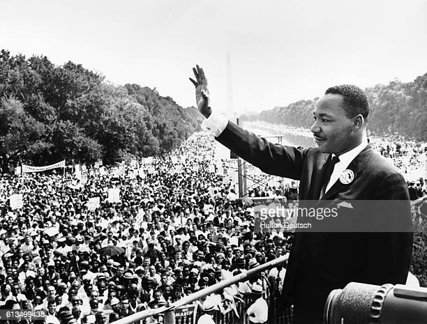 Reverend Martin Luther King Jr waves to participants in the Civil Rights Movement's March on Washington from the Lincoln Memorial It was from this...