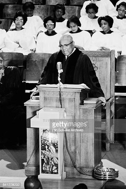 Reverend Martin Luther King Sr delivers a sermon from the pulpit at Ebenezer Baptist Church