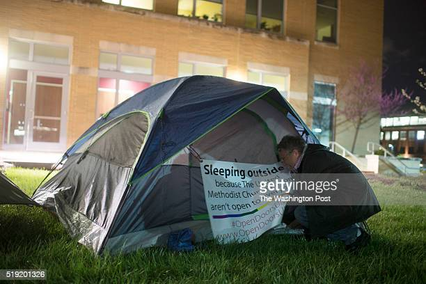 Reverend Mike Tupper has set up a tent outside the United Methodist Church in Fulton Maryland on April 02 2016 Reverend Mike Tupper has been sleeping...