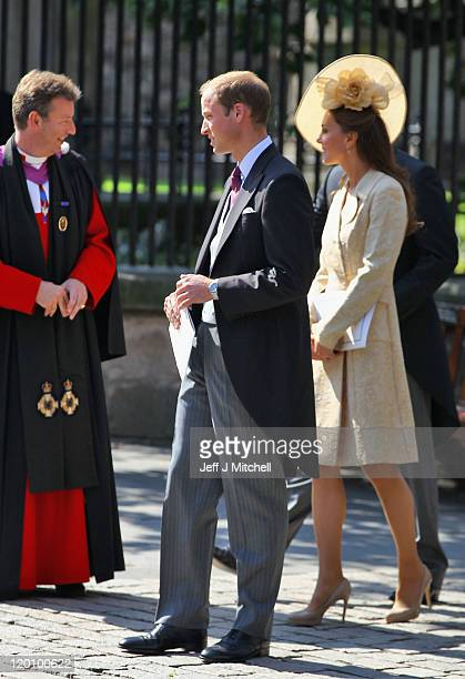 Reverend Neil Gardner, Prince William, Duke of Cambridge and Catherine, Duchess of Cambridge depart after the Royal wedding of Zara Phillips and Mike...