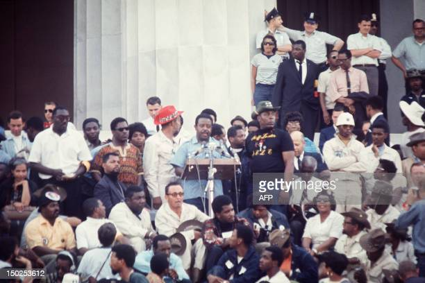 Reverend Ralph Abernathy, Southern Christian Leadership Conference new president, delivers a speech at Lincoln Memorial, at the end of the Poor...