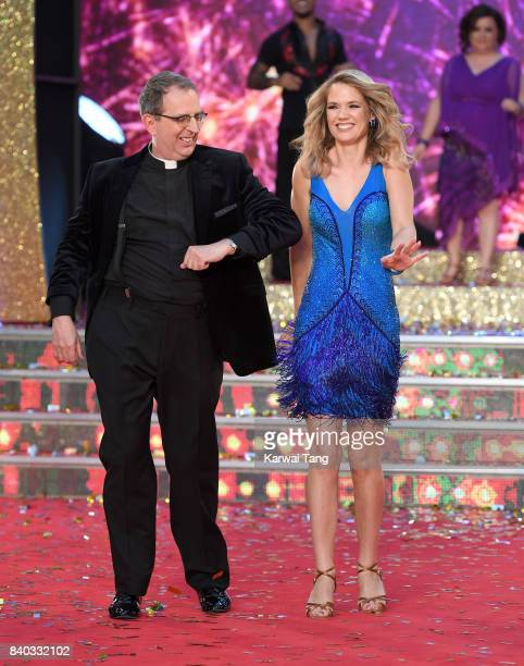 Reverend Richard Coles and Charlotte Hawkins attend the 'Strictly Come Dancing 2017' red carpet launch at Broadcasting House on August 28, 2017 in...