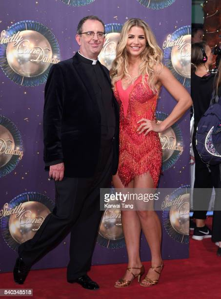 Reverend Richard Coles and Gemma Atkinson attend the 'Strictly Come Dancing 2017' red carpet launch at Broadcasting House on August 28 2017 in London...