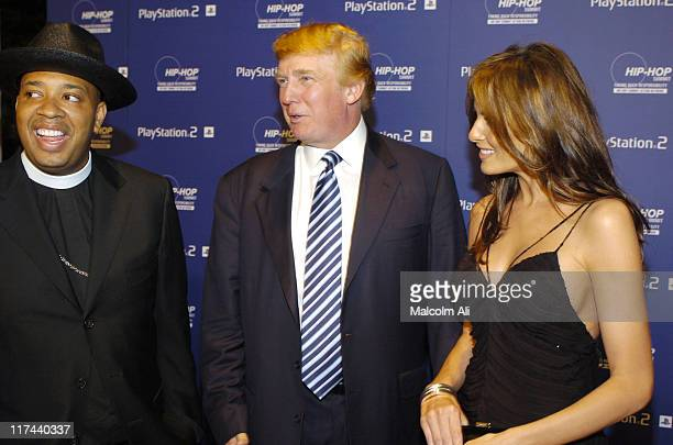 Reverend Run Donald Trump and Melania Knauss during PLAYSTATION 2 and Russell Simmons Join HIPHOP Summit Action Network 2004 at Beverly Hills Hotel...