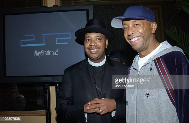 Reverend Run from Run DMC and Russell Simmons during 2nd Annual PlayStation 2 Game Over Party at Icon Hotel in Houston Texas United States