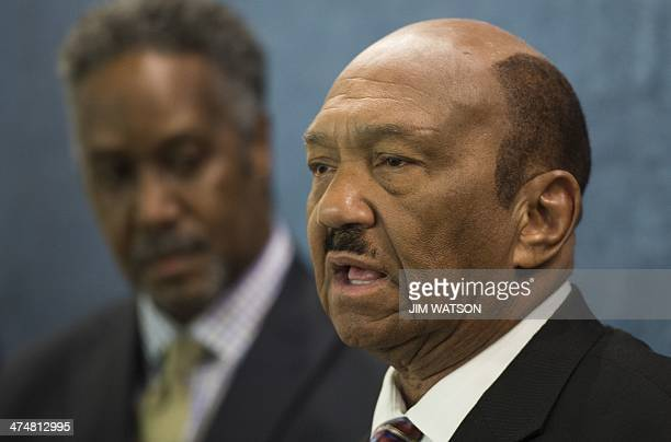 Reverend William Owens founder and president of the Coalition of AfricanAmerican Pastors holds a news conference to speak against President Obama and...