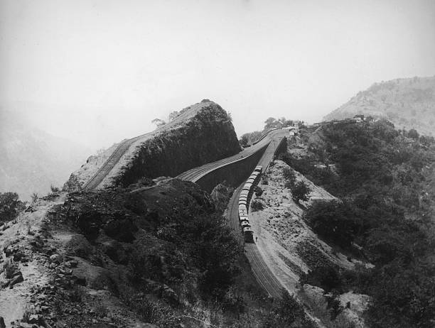 A railway reversing station on the Bhore Ghat Incline,...