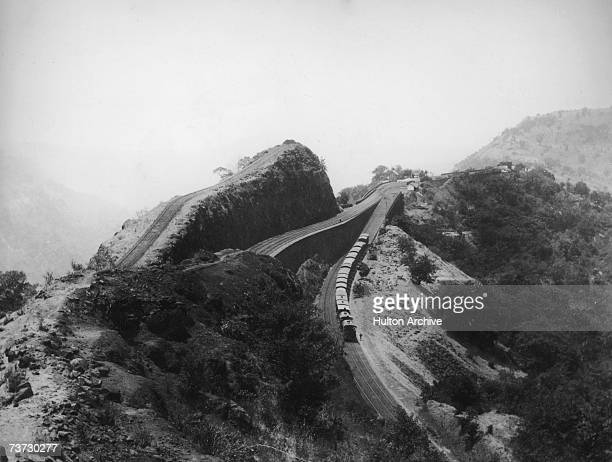 A railway reversing station on the Bhore Ghat Incline near the town of Poona or Pune in Maharashtra on the edge of the Western Ghats circa 1880 Pune...