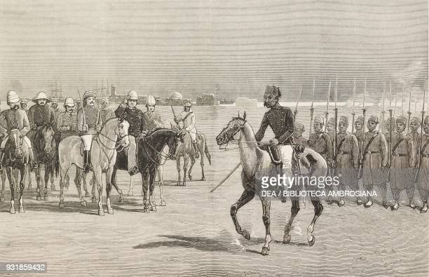 Review of Egyptian troops at Suakin by admiral sir W Hewett the Rebellion in the Sudan Mahdist War illustration from the magazine The Graphic volume...