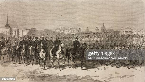 Review of the troops in the Champ de Mars the marriage of Alexander Alexandrovich Romanov and Maria Feodorovna November 9 St Petersburg Russia...