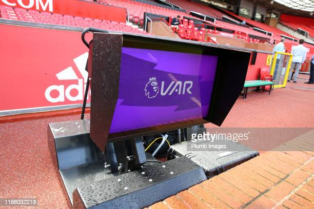 Review screen at Old Trafford ahead of the Premier League match between Manchester United and Leicester City at Old Trafford on September 14, 2019 in...