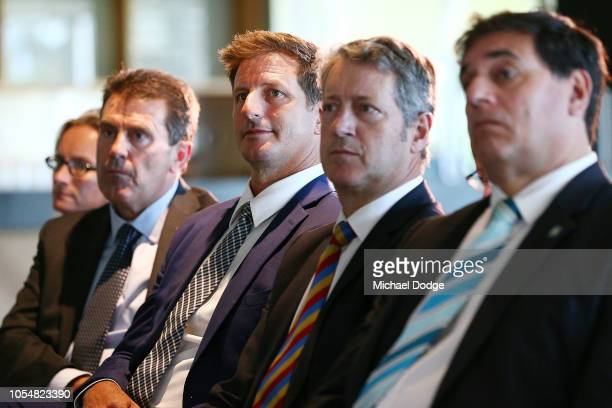 Review subcommittee member and former Australian bowler Michael Kasprowicz looks on during a Cricket Australia press conference following the...