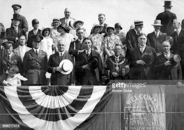 Reviewing stand filled with notables and guests during the tercentenary parade in Cambridge Mass June 25 1930 Front row left to right Maj Robert L...