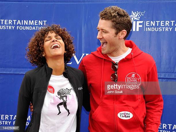 Revlon Brand Ambassador, Halle Berry sporting the winning design from the Fruit of the Loom t-shirt contest with Matthew Morrison in Fruit of the...