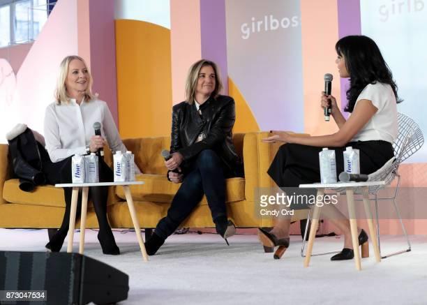 Revlon CCO Linda Wells American Express VP of Entertainment Marketing Sponsorships Deborah Curtis and Girlboss EditorinChief COO Neha Gandhi speak...