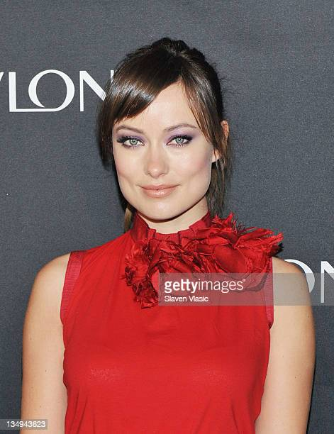 Revlon's newest Global Brand Ambassador actress Olivia Wilde launches four new Revlon eye products at The Lambs Club on December 5 2011 in New York...