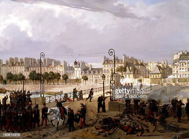 Revolt at Pont de l'Archeveche in Paris during the revolution of 1848 painting by Philippe Chaperon France 19th century