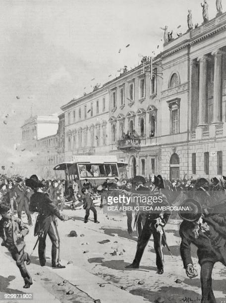 Revolt in front of Palazzo Saporiti in Corso Venezia food riots in Milan Italy May 7 drawing by Achille Beltrame from L'Illustrazione Italiana Year...