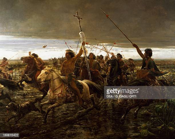 Revolt of the Indians against the church painting by Angel Della Valle Argentina 19th century