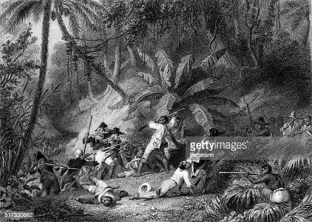 Revolt of the Negroes at St Dominigue Engraving