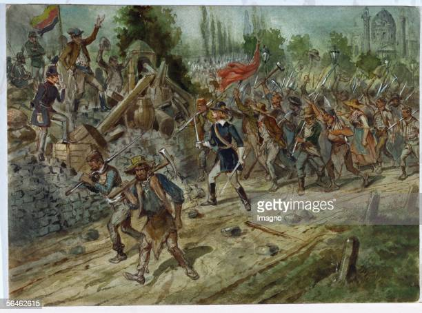 Revolution 1848 armed railway workers on their way to the center of Vienna May 26 led by a student of the Academic League Watercolour by Franz Gaul...