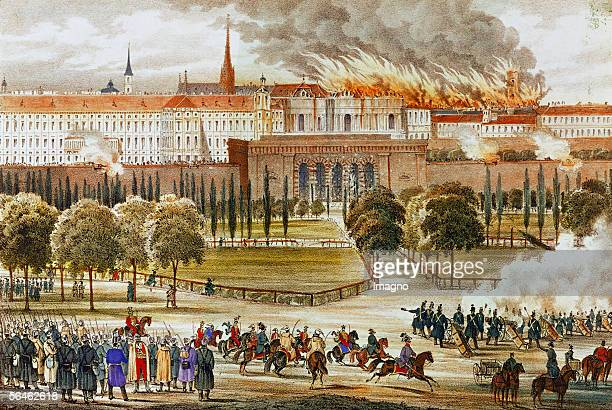 Revolution 1848 Imperial troops strike back at the Burgtor Vienna October 1848 [Revolution 1848 kaiserliche Truppen beim Gegenangriff am Burgtor...