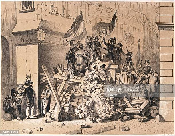 Revolution in 1848 At the Vienna barricades 1848 Lithograph by F Kollarz Printing J Rauh Vienna