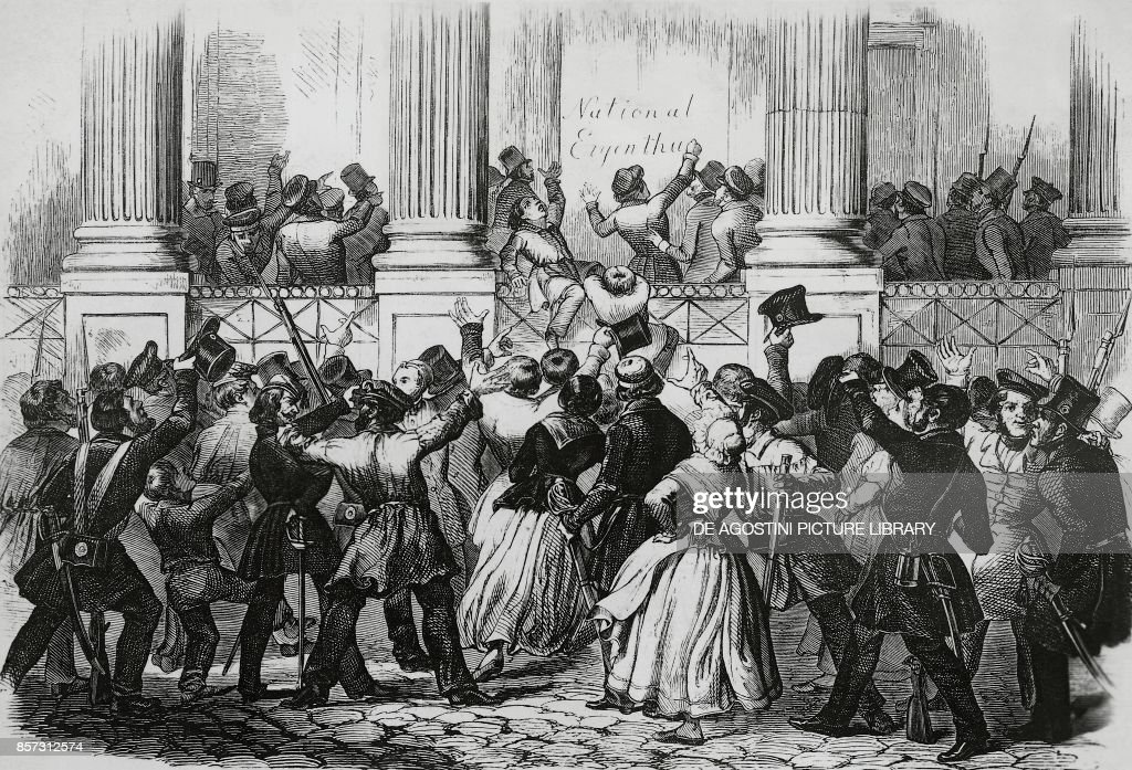 Revolution in Berlin in front of William I's palace, March 1848, Germany, 19th century : News Photo