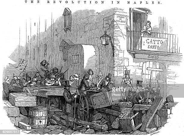 Barricade in the Strada di Toledo just before the attack on 15 May 1848 Wood engraving 1848