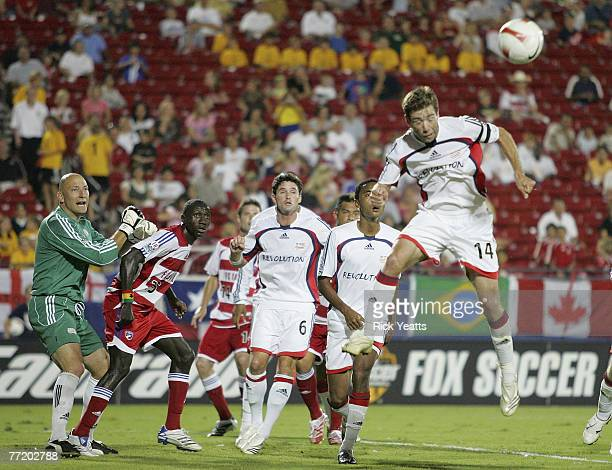 Revolution midfielder Steve Ralston heads a penalty kick during the 2007 Lamar Hunt U.S. Open Cup Final on October 3, 2007 at Pizza Hut Park in...