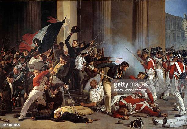 'Taking of the Louvre and massacre of the Swiss Guards during the Trois Glorieuses 29 July 1830' Painting by Jean Louis Bezard 1830 176 x 245 m...