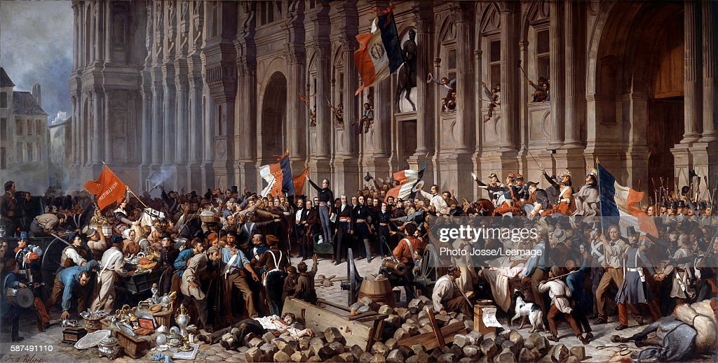 Lamartine rejecting the red flag at the Hotel de Ville, Paris, 1848 : News Photo