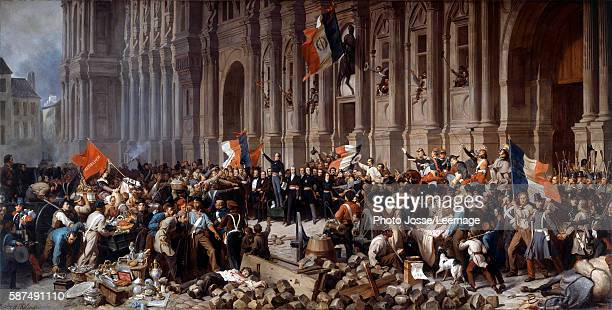 Alphonse de Lamartine rejecting the red flag at the HoteldeVille of Paris 25 February 1848 Painting by Henri Felix Philippoteaux Petit Palais Museum...