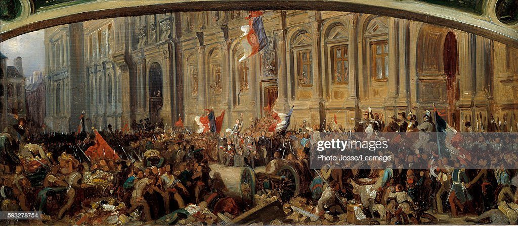 Alphonse de Lamartine rejects the red flag in front of the Town Hall by Felix Philippoteaux : News Photo