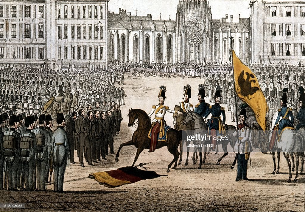 Revolution of 1848 in Vienna Viennese municipal council standing before Prince Windisch-Graetz who put down the uprising in Vienna; the Black-Red-Golden flag is lying on the ground - October 1848 : News Photo