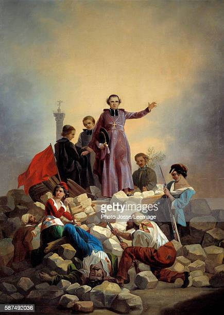 The Archbishop Monseigneur Denis Affre on the barricades at the entrance of Faubourg SaintAntoine on 26 June 1848 Painting by Joseph Felon 1848 092 x...