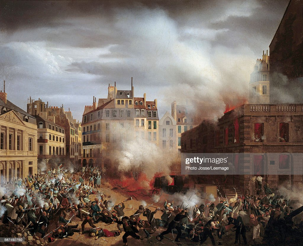 The Burning of the Chateau d'Eau at the Palais-Royal, 1848 by Eugene Henri Adolphe Hagnauer : News Photo