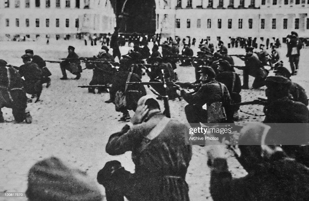 Revolutionaries storming the Winter Palace in Petrograd during the Russian Revolution, 7th November 1917. Petrograd was renamed Leningrad after the revolution, before reverting to Saint Petersburg in 1991.