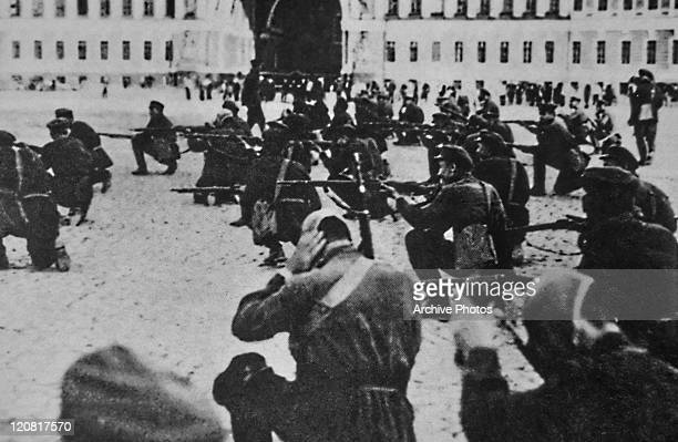 Revolutionaries storming the Winter Palace in Petrograd during the Russian Revolution 7th November 1917 Petrograd was renamed Leningrad after the...