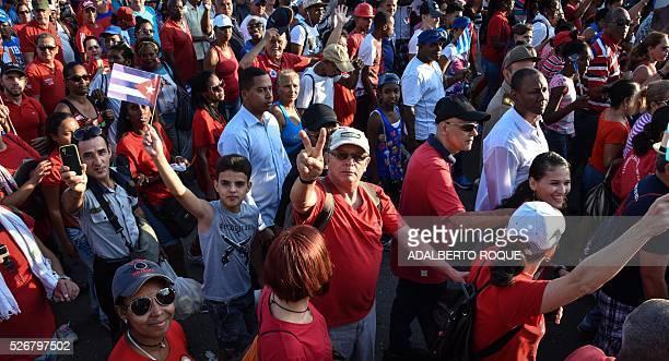 Revolutionary Armed Forces of Colombia commander Rodrigo Granda participates in the May Day parade in Havana on May 1 2016 / AFP / ADALBERTO ROQUE