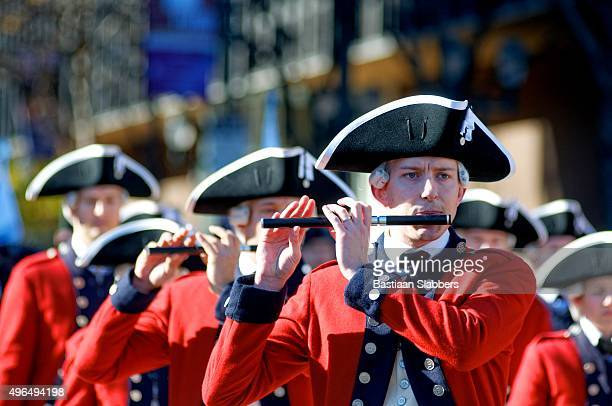 revolutionary army reenactors at philly veterans day parade - revolutionary war stock photos and pictures