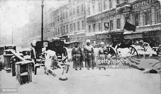 Revolutionary barricades at the Liteyny Prospekt in Petrograd February 27 1917 Found in the Collection of State Museum of Revolution Moscow