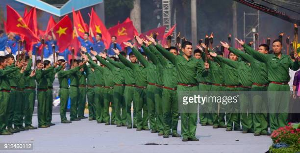 A revolutionary dance is performed during a ceremony marking the 50th anniversary of the Tet Offensive in Ho Chi Minh City on January 31 2018 Vietnam...